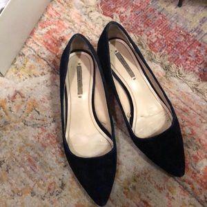 Zara basic blue velvet shoes
